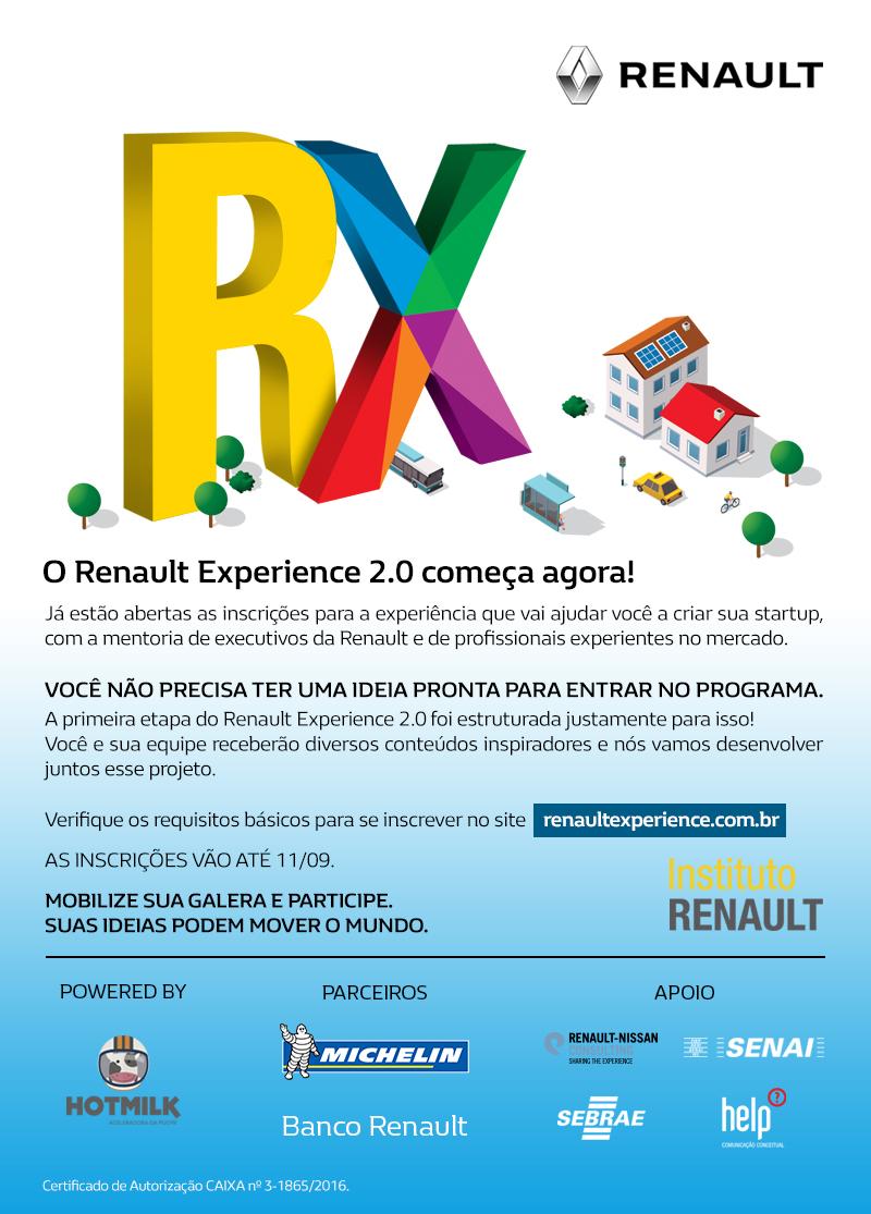 Inscrições abertas para o Renault Experience